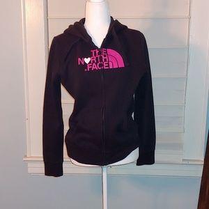 The North Face black full-zipped hoodie sz medium
